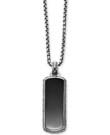 Scott Kay Men's Onyx (36 x 14mm) Dog Tag Necklace in Sterling Silver