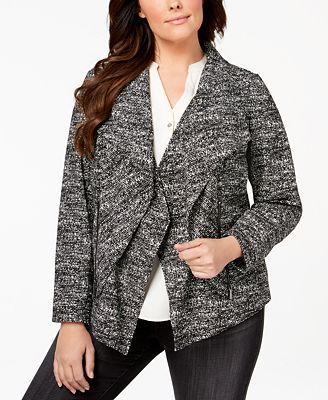Alfani Plus Size Draped Blazer, Created for Macy's