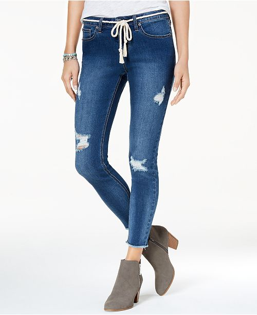 e495464987 Rampage Juniors' Rope-Belt Skinny Ankle Jeans & Reviews - Jeans ...