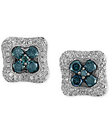 EFFY® Diamond Cluster Stud Earrings (1-1/6 ct. t.w.) in 14k White Gold