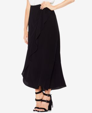Vince Camuto Textured Faux-Wrap Ruffled Long Skirt thumbnail