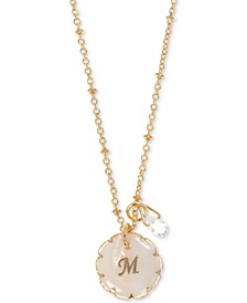 Gold-Tone Crystal & Initial Pendant Necklace