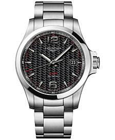 Longines Men's Swiss Conquest VHP Stainless Steel Bracelet Watch 43mm
