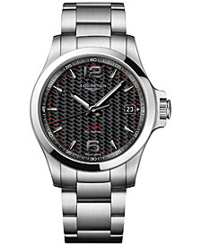 Longines Men's Swiss Conquest VHP Stainless Steel Bracelet Watch 41mm