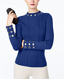 I.N.C. Ribbed-Knit Mock-Neck Grommet Sweater, Created for Macy's