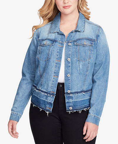 Jessica Simpson Trendy Plus Size Pixie Cotton Denim Jacket ...