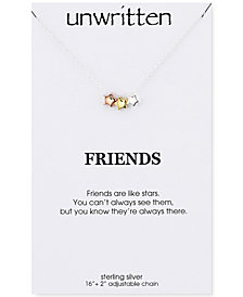 Unwritten Tri-Color Star Trio Pendant Necklace in Sterling Silver