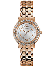 GUESS Women's Rose Gold-Tone Stainless Steel Bracelet Watch 34mm