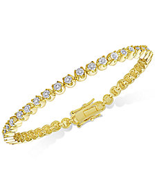 Diamond Miracle Line Tennis Bracelet (1/4 ct. t.w.) in 18k Gold-Plated Sterling Silver or Sterling Silver