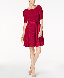 Charter Club Belted Lace Dress, Created for Macy's