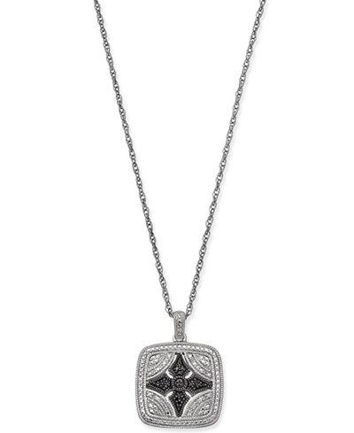 Diamond Filigree Square Pendant Necklace (1/10 ct. t.w.) in Sterling Silver