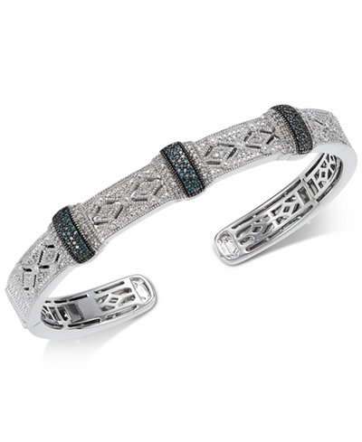 Diamond Pavé Cuff Bangle Bracelet (1/2 ct. t.w.) in Sterling Silver