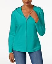 de70db9b0b87e Karen Scott Petite Solid Zip-Front Hooded Jacket