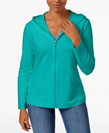 Karen Scott Petite Solid Zip-Front Hooded Jacket, Created for Macy's