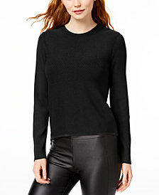 Bar III Rib-Knit Chiffon-Trimmed Sweater, Created for Macy's