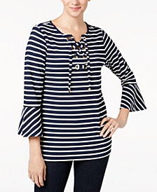 Charter Club Striped Bell-Sleeve Lace-Up Top, Created for Macy's