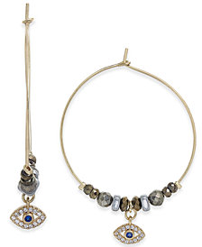 "Paul & Pitü Naturally Tri-Tone Watchful Eye Crystal & Bead 1/2"" Hoop Earrings"