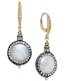 Paul & Pitü Naturally Two-Tone Freshwater Pearl (17mm) & Crystal Pavé Drop Earrings