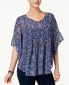 Style & Co Petite Pleated Poncho-Style Top, Created for Macy's