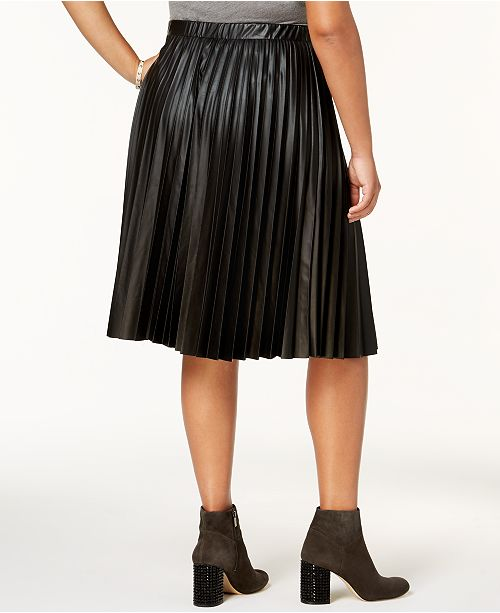 ING Trendy Plus Size Pleated Faux-Leather Skirt & Reviews ...