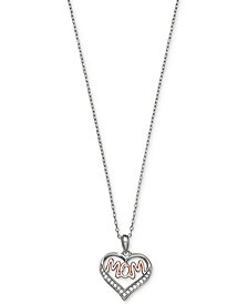 Giani Bernini Cubic Zirconia Mom Heart Pendant Necklace in Sterling Silver and 18k Rose Gold-Plate, Created for Macy's