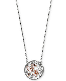 Giani Bernini Cubic Zirconia Butterfly Disc Pendant Necklace in Sterling Silver and 18k Rose Gold-Plate, Created for Macy's
