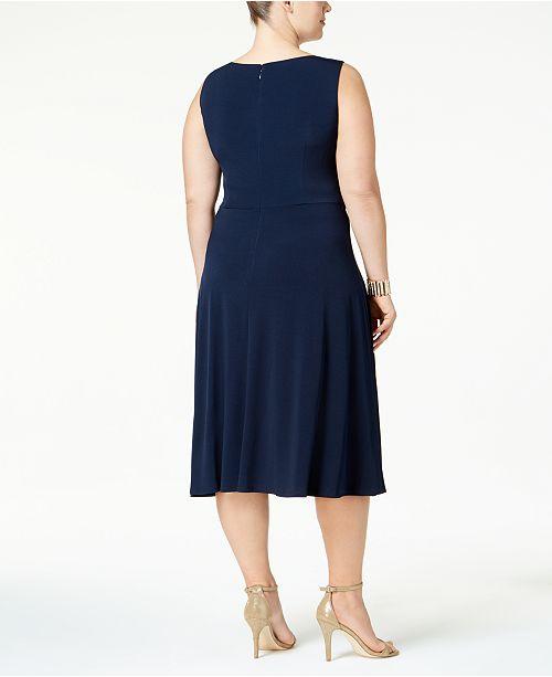 15f4dec5edae8 ... Jessica Howard Plus Size Empire-Waist Dress   Printed Jacket ...