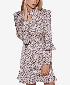 Avec Les Filles Leopard-Print Ruffled Fit & Flare Dress