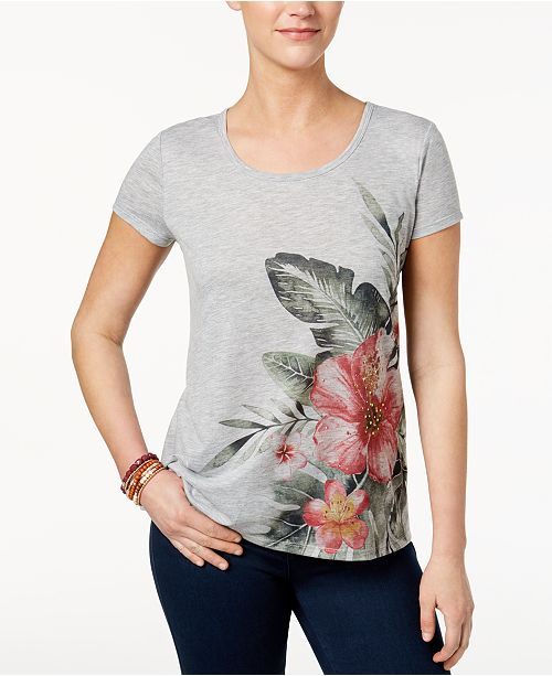 Style & Co Petite Embellished High-Low Swing Top, Created for Macy's