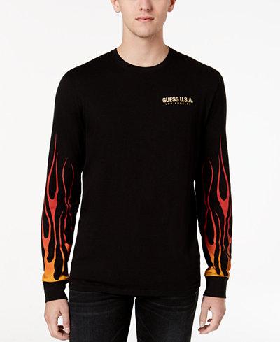 GUESS Men's Graphic-Print Long-Sleeve T-Shirt - T-Shirts - Men ...
