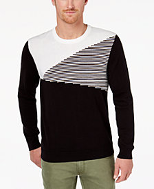 I.N.C. Men's Colorblocked Ottoman Stripe Sweater, Created for Macy's