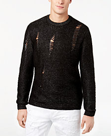 GUESS Men's Destroyed Metallic Sweater
