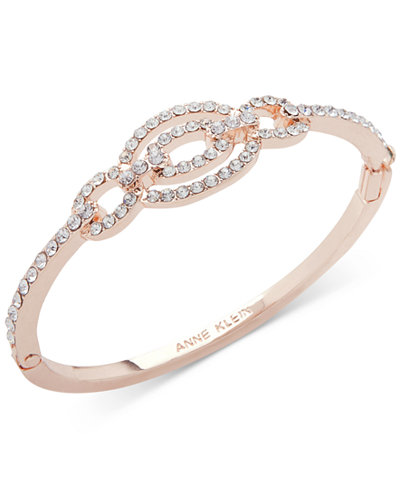 Anne Klein Rose Gold-Tone Pavé Link Bangle Bracelet, Created for Macy's