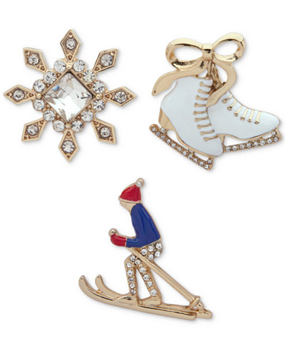 Anne Klein Gold-Tone 3-Pc. Set Crystal Winter Sports Pins, Created for Macy's