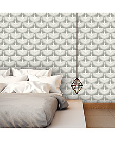 Genenieve Gorder For Tempaper Feather Flock Self-Adhesive Wallpaper, 56 Sq.Ft