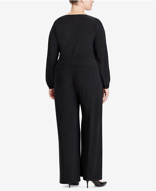 4c741693c91 Lauren Ralph Lauren Plus Size Wide-Leg Jersey Jumpsuit - Pants ...