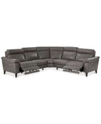 CLOSEOUT! Pirello 5-Pc. ''L'' Shaped Leather Sectional Sofa with 2 Power Recliners with Power Headrests and USB Port, Created for Macy's