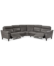 Pirello II 5-Pc. ''L'' Shaped Leather Sectional Sofa with 2 Power Recliners with Power Headrests and USB Port, Created for Macy's