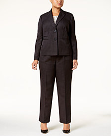 Le Suit Plus Size Pinstriped Two-Button Pantsuit & Shell