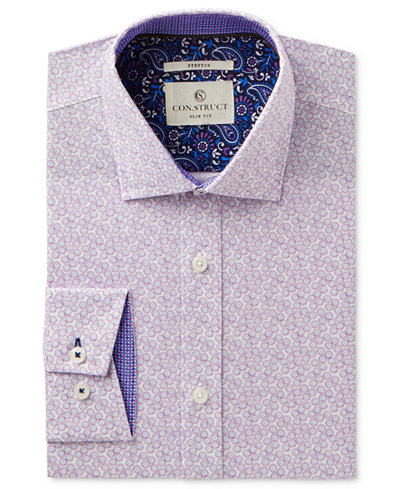 Con.Struct Men's Slim-Fit Stretch Lilac Daisy Dress Shirt, Created for Macy's