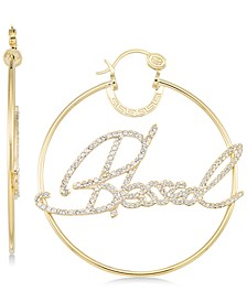 "Crystal ""Blessed"" Hoop Earrings in 14k Gold over Sterling Silver"