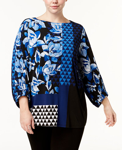 Alfani Plus Size Printed Boat-Neck Tunic, Created for Macy's