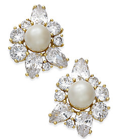 kate spade new york Gold-Tone Crystal & Imitation Pearl Stud Earrings
