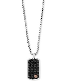 EFFY® Men's Black Sapphire Dog Tag Pendant Necklace (3 ct. t.w.) in Sterling Silver & 18k Rose Gold