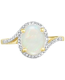 Opal (1-1/2 ct. t.w.) & Diamond (1/6 ct. t.w.) Ring in 14k Gold