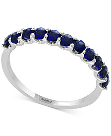 Gemstone Bridal by EFFY® Sapphire Wedding Band (1/2 ct. t.w.) in 18k White Gold