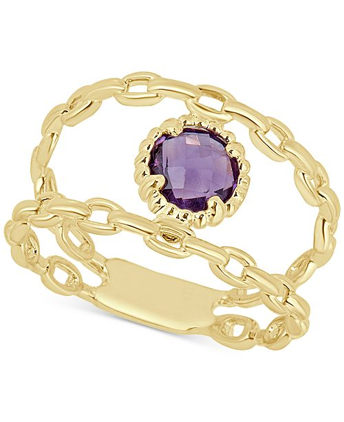 Macy's Amethyst Double Chain Statement Ring (7/8 ct. t.w.) in 14k Gold