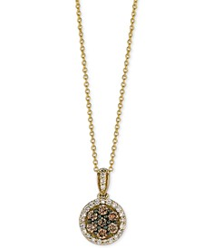 Chocolatier® Diamond Halo Pendant Necklace (1/2 ct. t.w.) in 14k Gold