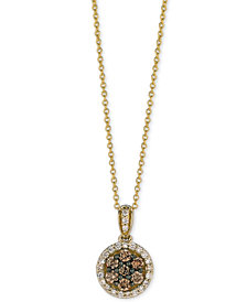 Le Vian Chocolatier® Diamond Halo Pendant Necklace (1/2 ct. t.w.) in 14k Gold