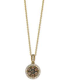 Le Vian Chocolatier® Diamond Halo Pendant Necklace (1/2 ct. t.w.) in 14k Gold